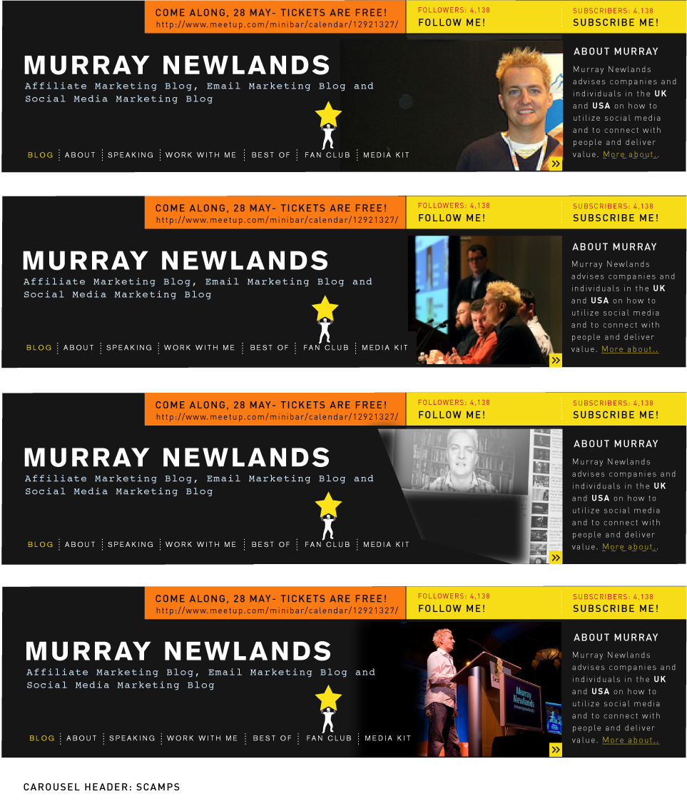 Headers for MurrayNewlands.com Redesign by Katja Garrood of Brand Watch
