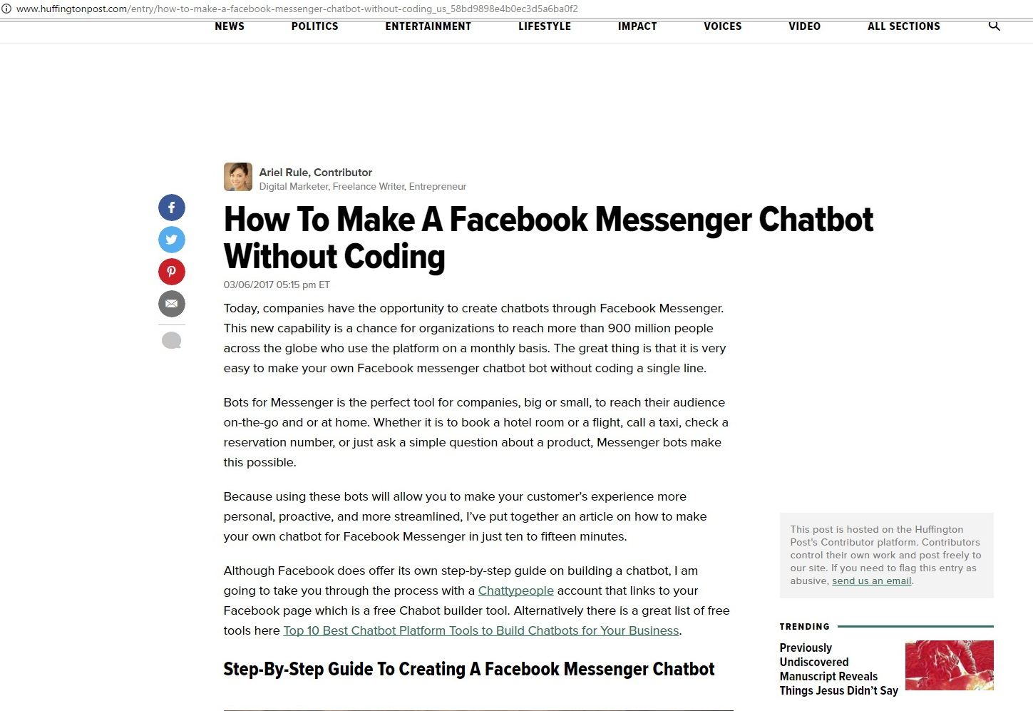 Make A Facebook Messenger Chatbot Without Coding | Murray